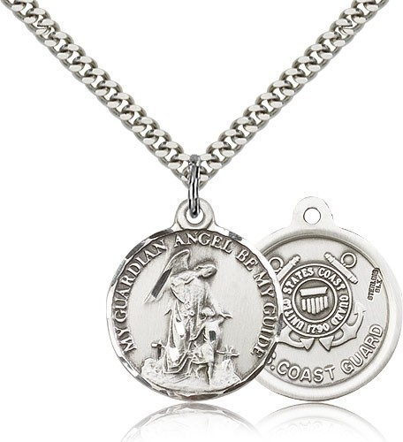 "Coast Guard Guardain Angel Medal, Sterling Silver - 24"" 2.4mm Rhodium Plate Endless Chain"