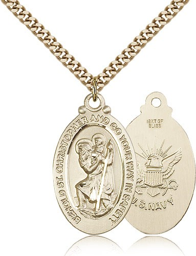 "St. Christopher Navy Medal, Gold Filled - 24"" 2.4mm Gold Plated Endless Chain"