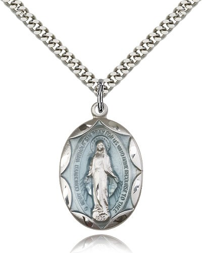 "Miraculous Medal, Sterling Silver - 24"" 2.4mm Rhodium Plate Endless Chain"