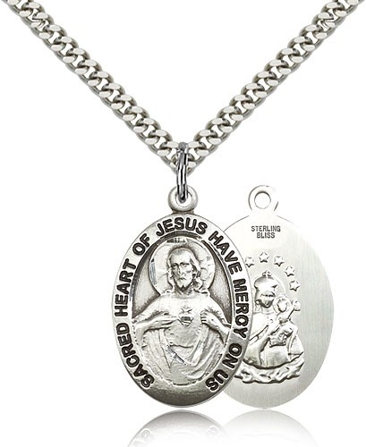 "Scapular Medal, Sterling Silver - 24"" 2.4mm Rhodium Plate Endless Chain"