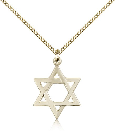 Star of David Medal, Gold Filled - Gold-tone