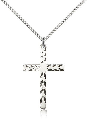 "Cross Pendant, Sterling Silver - 18"" 1.2mm Sterling Silver Chain + Clasp"