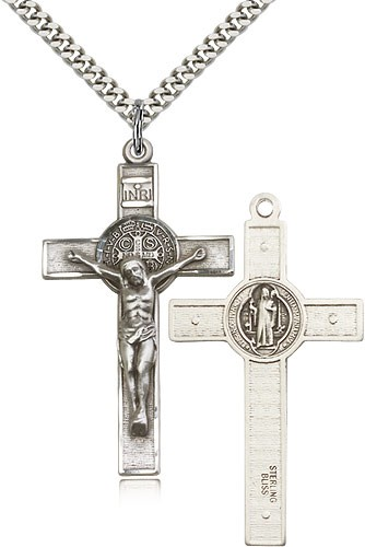 "St. Benedict Crucifix Pendant, Sterling Silver - 24"" 2.4mm Rhodium Plate Endless Chain"