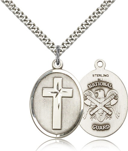 "National Guard Cross Pendant, Sterling Silver - 24"" 2.4mm Rhodium Plate Endless Chain"