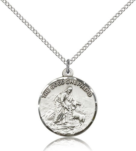 "Good Shepherd Medal, Sterling Silver - 18"" 1.2mm Sterling Silver Chain + Clasp"