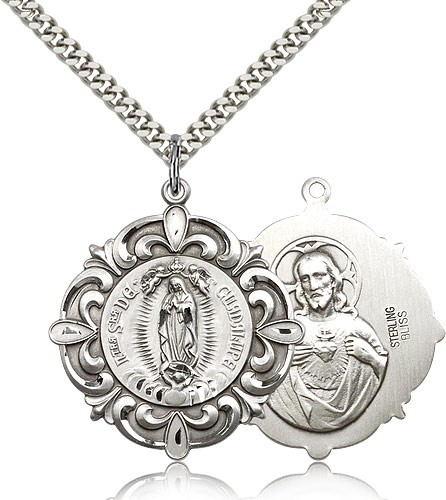 """1eca8d2e198 Our Lady of Guadalupe Medal, Sterling Silver - 24"""" 2.4mm Rhodium Plate  Endless"""