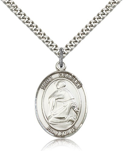 "St. Charles Borromeo Medal, Sterling Silver, Large - 24"" 2.4mm Rhodium Plate Chain + Clasp"