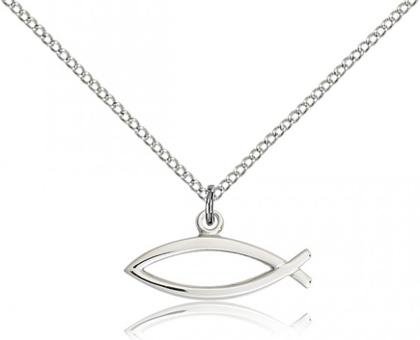 "Fish Medal, Sterling Silver - 18"" 1.2mm Sterling Silver Chain + Clasp"