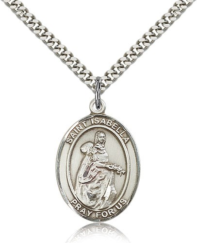 "St. Isabella of Portugal Medal, Sterling Silver, Large - 24"" 2.4mm Rhodium Plate Chain + Clasp"