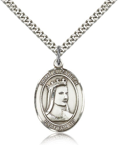 "St. Elizabeth of Hungary Medal, Sterling Silver, Large - 24"" 2.4mm Rhodium Plate Chain + Clasp"