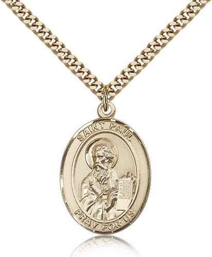 "St. Paul the Apostle Medal, Gold Filled, Large - 24"" 2.4mm Gold Plated Chain + Clasp"