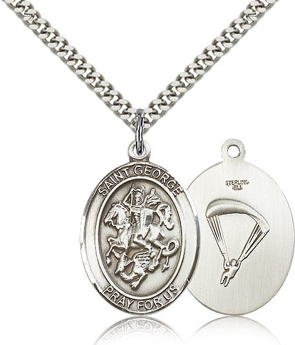 "St. George Paratrooper Medal, Sterling Silver, Large - 24"" 2.4mm Rhodium Plate Chain + Clasp"