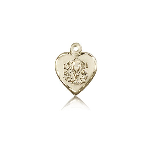 Heart Communion Medal, 14 Karat Gold - 14 KT Yellow Gold