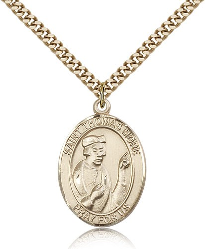 "St. Thomas More Medal, Gold Filled, Large - 24"" 2.4mm Gold Plated Chain + Clasp"