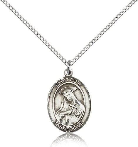 "St. Rose of Lima Medal, Sterling Silver, Medium - 18"" 1.2mm Sterling Silver Chain + Clasp"
