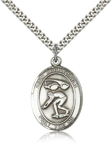 "St. Christopher Swimming Medal, Sterling Silver, Large - 24"" 2.4mm Rhodium Plate Chain + Clasp"