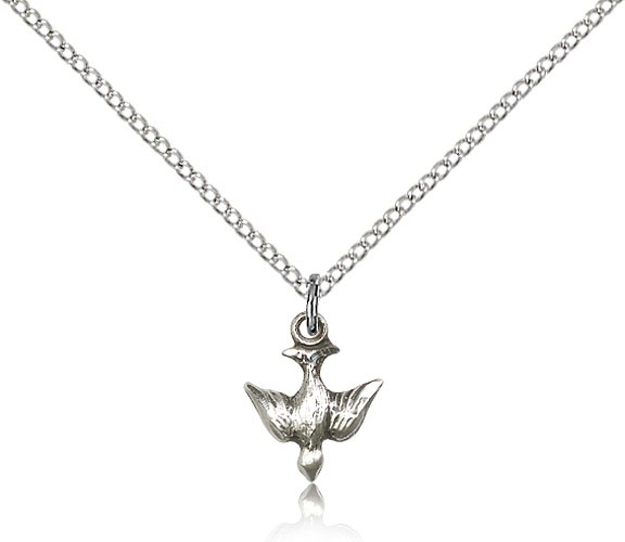 "Holy Spirit Medal, Sterling Silver - 18"" 1.2mm Sterling Silver Chain + Clasp"