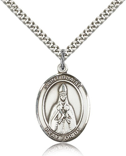 "St. Blaise Medal, Sterling Silver, Large - 24"" 2.4mm Rhodium Plate Chain + Clasp"