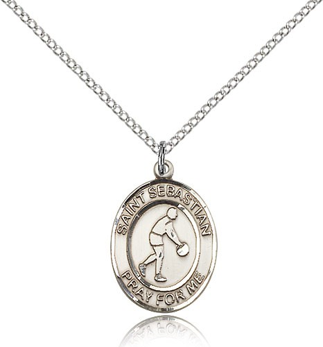 "St. Sebastian Basketball Medal, Sterling Silver, Medium - 18"" 1.2mm Sterling Silver Chain + Clasp"