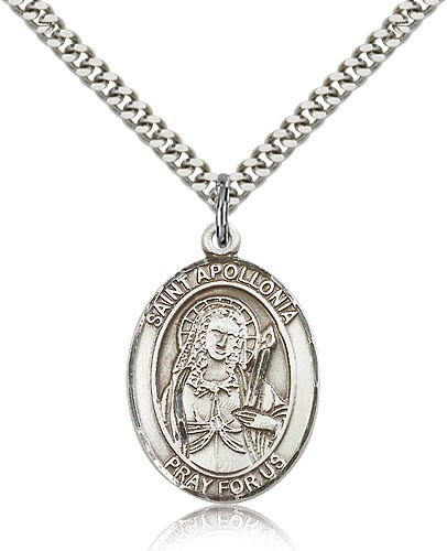 "St. Apollonia Medal, Sterling Silver, Large - 24"" 2.4mm Rhodium Plate Chain + Clasp"