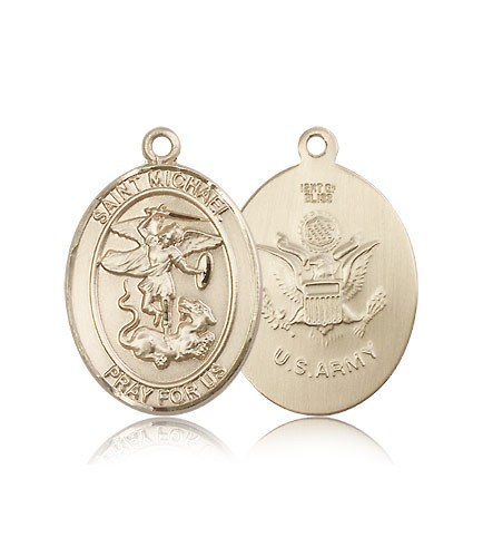 St. Michael Army Medal, 14 Karat Gold, Large - 14 KT Yellow Gold