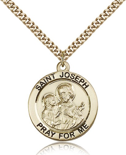 "St. Joseph Medal, Gold Filled - 24"" 2.4mm Gold Plated Endless Chain"