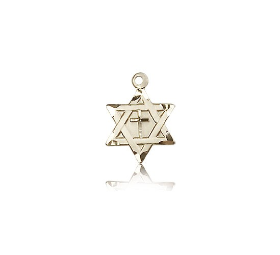 Star of David with Cross Pendant, 14 Karat Gold - 14 KT Yellow Gold