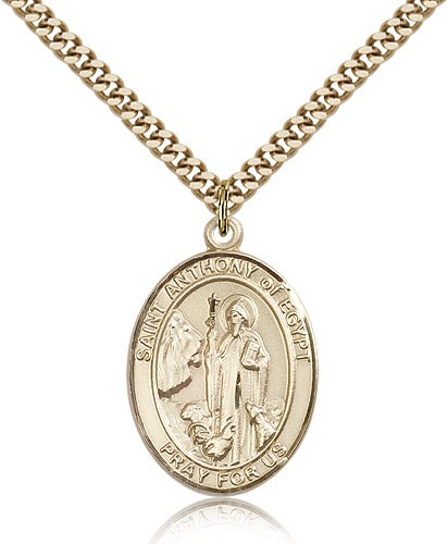 "St. Anthony of Egypt Medal, Gold Filled, Large - 24"" 2.4mm Gold Plated Chain + Clasp"