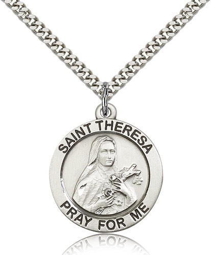 "St. Theresa Medal, Sterling Silver - 24"" 2.4mm Rhodium Plate Endless Chain"