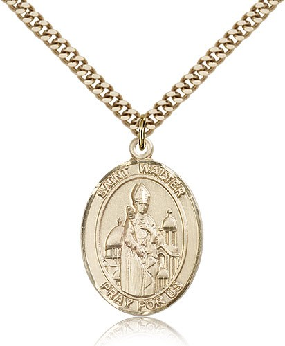 "St. Walter of Pontnoise Medal, Gold Filled, Large - 24"" 2.4mm Gold Plated Chain + Clasp"