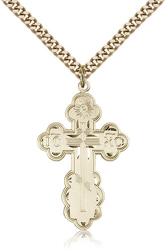 "St. Olga Cross Pendant, Gold Filled - 24"" 2.4mm Gold Plated Endless Chain"