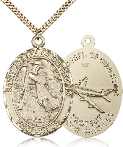 "St. Joseph of Cupertino Medal, Gold Filled - 24"" 2.4mm Gold Plated Endless Chain"