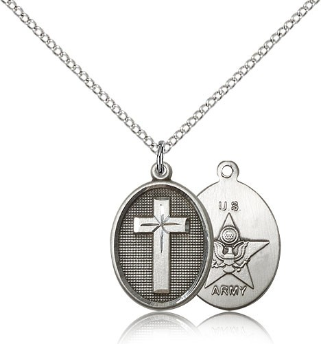 "Army Cross Pendant, Sterling Silver - 18"" 1.2mm Sterling Silver Chain + Clasp"