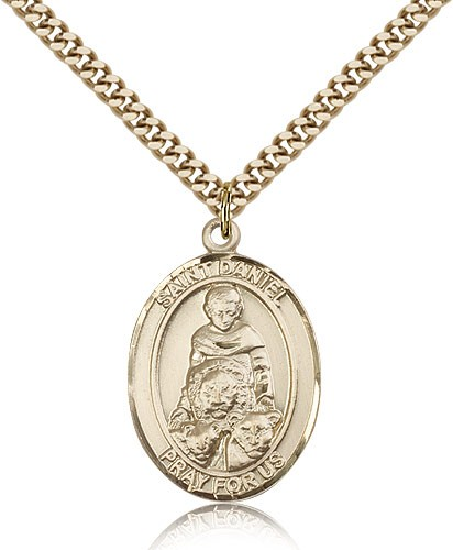 "St. Daniel Medal, Gold Filled, Large - 24"" 2.4mm Gold Plated Chain + Clasp"