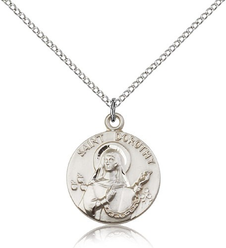 "St. Dorothy Medal, Sterling Silver - 18"" 1.2mm Sterling Silver Chain + Clasp"
