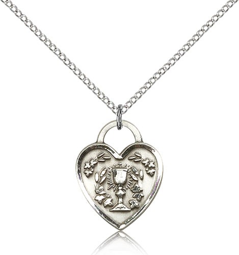 "Communion Heart Medal, Sterling Silver - 18"" 1.2mm Sterling Silver Chain + Clasp"