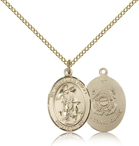 Guardian Angel Coast Guard Medal, Gold Filled, Medium - Gold-tone