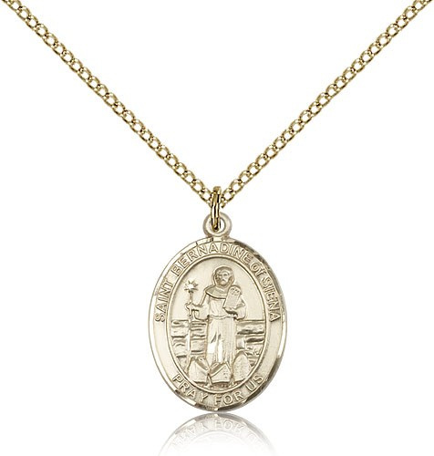 St. Bernadine of Sienna Medal, Gold Filled, Medium - Gold-tone