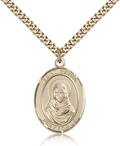 "St. Rafta Medal, Gold Filled, Large - 24"" 2.4mm Gold Plated Chain + Clasp"