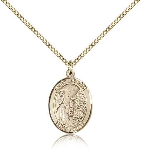 St. Fiacre Medal, Gold Filled, Medium - Gold-tone