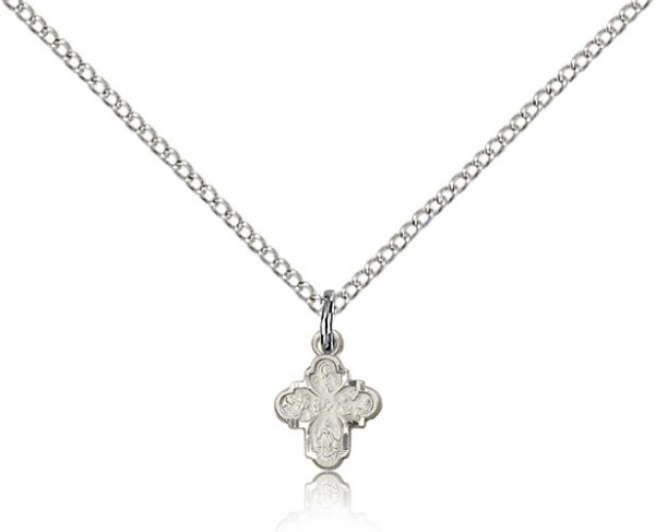 "4 Way Cross Pendant, Sterling Silver - 18"" 1.2mm Sterling Silver Chain + Clasp"