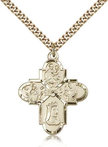 "Franciscan 4 Way Cross Pendant, Gold Filled - 24"" 2.4mm Gold Plated Endless Chain"