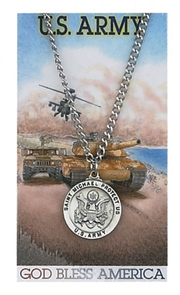 Round St. Michael Army Medal and Prayer Card Set - Silver-tone