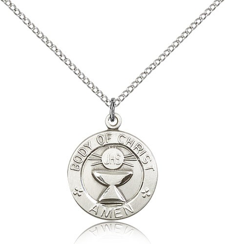 "Body of Christ Medal, Sterling Silver - 18"" 1.2mm Sterling Silver Chain + Clasp"