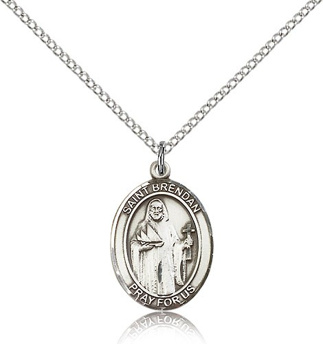"St. Brendan the Navigator Medal, Sterling Silver, Medium - 18"" 1.2mm Sterling Silver Chain + Clasp"