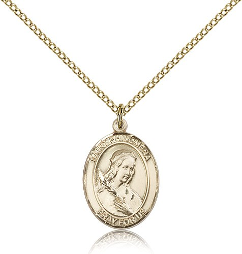 St. Philomena Medal, Gold Filled, Medium - Gold-tone