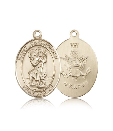 St. Christopher Army Medal, 14 Karat Gold, Large - 14 KT Yellow Gold