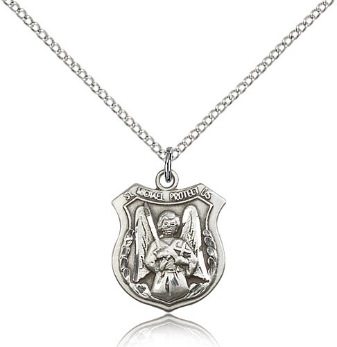 "St. Michael the Archangel Medal, Sterling Silver - 18"" 1.2mm Sterling Silver Chain + Clasp"