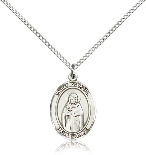 "St. Samuel Medal, Sterling Silver, Medium - 18"" 1.2mm Sterling Silver Chain + Clasp"