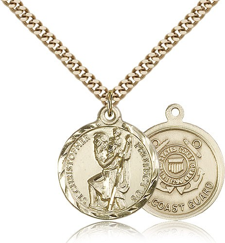 "St. Christopher Coast Guard Medal, Gold Filled - 24"" 2.4mm Gold Plated Endless Chain"